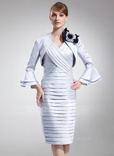 Sheath/Column V-neck Knee-Length Satin Mother of the Bride Dress With Ruffle (008005944) - JJsHouse