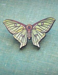 luna moth wooden brooch.