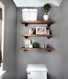 DIY Space-Saving-Bathroom Shelving Ideas DIY Restoration Hardware Inspired Shelving / Inspiration Inspiration, inspire, or inspired may refer to: Shelves Above Toilet, Bathroom Wall Shelves, Diy Wall Shelves, Floating Shelves, Shelving Ideas, Bathroom Storage, Storage Ideas, Shelf Ideas, Wooden Shelves