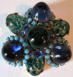SCHREINER WILD LARGE DIMENSIONAL VINTAGE BLUE GREEN ART GLASS PIN    eBay