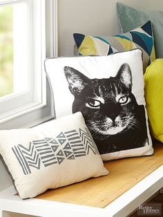 Ink your favorite pet portrait onto a plain pillow. Instructions: http://www.bhg.com/decorating/do-it-yourself/fabric-paper-projects/easy-diy-screenprint-projects/?socsrc=bhgpin100215customscreens&page=2