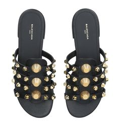Shoes: Flat Sandals Balenciaga Leather Gwen Studded Sandals