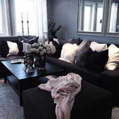 Nice 13 Latest Tips You Can Learn When Attending Black And Grey Living Room Deco. - furniture a living rooms - Living Room Decor Cozy, Living Room White, White Rooms, Living Room Colors, Living Room Grey, Living Room Sets, Living Room Designs, Black White And Grey Living Room, Monochromatic Living Room