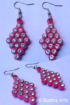 Handmade Paper Quilling Ear Rings... 64 crystal by BushraArts