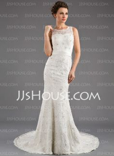 Mermaid Scoop Neck Court Train Satin Tulle Wedding Dress With Lace Beadwork (002035872)