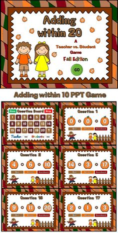 Build adding fluency with this fun autumn themed addition game. Great for your enitre class or even one-on-one practice. There are 20 questions and you just click on each question to go to it. The question disappears after you've clicked on it so you know you've answered it. There's even a tie breaker question. Includes a type-in scoreboard. that can be typed in during Slideshow Mode. It also includes a tiebreaker question. Great for a guided math center or rainy day activity.