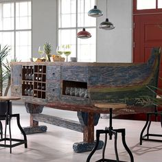 Buy the Vintage Boat Bar Desk with Wine Rack & Storage today! We offer a truly Unique Shopping Experience with Award Winning 5 Star Customer Service, Great Deals and Huge Savings! Wine Rack Storage, Wine Racks, Vintage Boats, Boat Design, Dining Room Design, Kitchen Design, Shabby Chic Furniture, Bars For Home, Storage Spaces