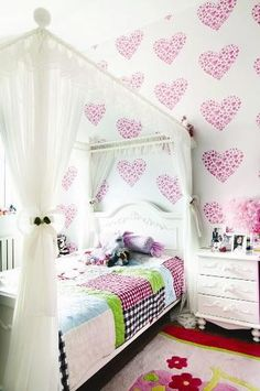 cute little girls room-wall decals or stencils on one wall