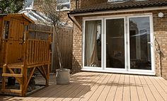 Teckwood's eco friendly composite decking is a perfect timber solution for pool areas, mobile phones, gardens or patios. Composite Flooring, Composite Decking, Deck Cost, Home Additions, Decks, Eco Friendly, Budget, Windows, Courtyards