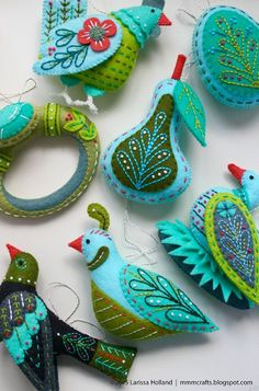 This was a bit of selfish ornament sewing. I am trying to make a full set of this aqua/mint/olive colorway for the Twelve Days ornaments just 'cause I like the colors so much. I thought I'd blog it be
