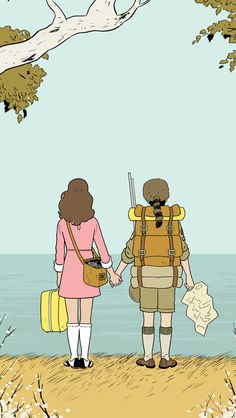 Adrian Tomine's illustration for Wes Anderson's Moonrise Kingdom.
