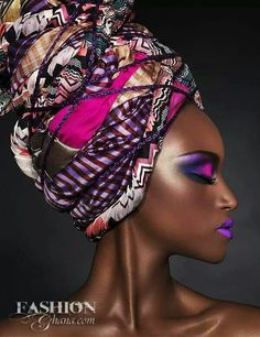 turban and pink and purple makeup African Beauty, African Women, African Makeup, Black Girl Magic, Black Girls, Foto Portrait, Portrait Photography, Woman Portrait, African Head Wraps