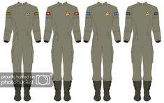Click this image to show the full-size version. Star Trek Uniforms, Sci Fi Rpg, Warrant Officer, Star Trek Characters, Uniform Ideas, Geek Crafts, Red Shirt, Nerd Stuff, Robots