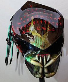Amazon.com: kustomzairbrushing Fiber Optic Green Predator Helmet ...