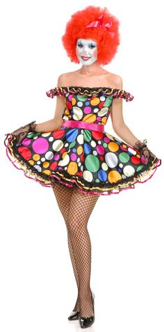 Women's Just Clownin' Costume - Calgary, Alberta. This clown costume is perfect for Halloween, Carnivals, or anywhere that could use some cute clownish fun.  With this Just Clownin' Clown costume, everyone will be smiling when they see you this Halloween.  This one-piece clown costume features a dress with a belt. The dress features an off-the-shoulder neckline accented with an organza ruff, which is accented with pink and gold ribbons.