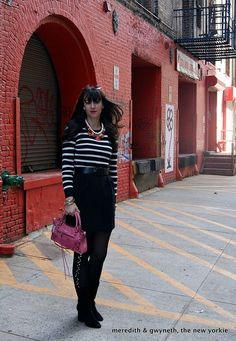 Studded tights and dress worn as a skirt for fall