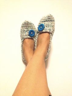 White Blue Tweed Crochet  Womens Slippers Ballet ♥ by cookieletta, $25.00