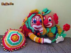 der Clown Bimbino und Bimbolina, feiern Valentin - gehäkelt - MyPatterns