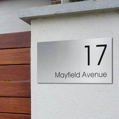 The Mayfair Plaque isampnbspa stylish and unique way of displaying your addressampnbspIts made from a Durable Brushed Aluminium Composite Bonded Panel with UV Resistant Commercial grade vinyl lettering House Name Plaques, House Name Signs, House Names, Home Signs, House Number Plates, Name Plates For Home, Large House Numbers, Name Plate Design, Shop Signage