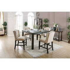 Furniture of America Sania II Dining Room Set with 54 Inch Counter Height Table, and Bar Stool in Antique Black Counter Height Table Sets, Pub Table Sets, Counter Height Stools, Solid Wood Dining Set, 7 Piece Dining Set, Breakfast Nook Dining Set, Dining Room Furniture, Furniture Logo, Outdoor Furniture