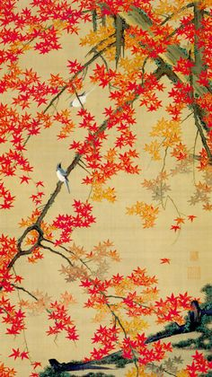 """伊藤若冲(Ito Jakuchu)「紅葉小禽図~動植綵絵(Scarlet maple leaves and Small Birds, from """"Animals and plants in Colors"""")」(c.1765-66)"""