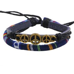 QN Yiwu Small Commodities City New Pattern Fabric Art Peace Symbol Friend Wax Rope Weave Bracelet Genuine Leather Hand Ornaments