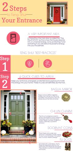 Fun Feng Shui Infographic to activate your entrance in 2 easy steps and in 5 minutes