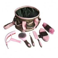 Portable Equine Grooming Tools Kit Horse Care Bag 7 Pieces Pink Kit109 by Goldway. $28.99. chocolate brown with pink trim color. drawstring nylon top. grooming kit of 7 pieces. horse brushing tool,pony grooming bag. portable, stylish and Cute!. -This is for a cute, collapsible, 7 pieces grooming bag in chocolate brown with pink trim color! -These grooming totes come with 6 essential grooming tools. The tote is made of nylon and is easy to clean. -It has 6 outsid...