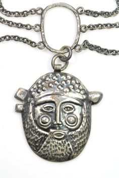 Rare Mexican EMAUS Sterling Silver Modernistic Repousse Necklace by the Benedictine Monks of Cuernavaca