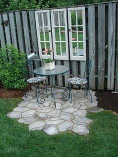 23 Easy-to-Make Ideas Building a Small Backyard Seating Area - Easy Diy Garden Projects Backyard Seating, Small Backyard Landscaping, Backyard Patio, Landscaping Ideas, Modern Backyard, Large Backyard, Small Patio, Sloped Backyard, Fenced In Backyard Ideas