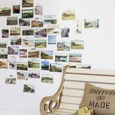 You can tack the photos on your walls without frames for a more free-spirited look. Use colorful masking tape to stick the photos on the wall, and it'll give the collage a shabby chic vibe.  Photo courtesy of Livingetc
