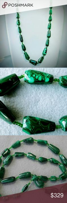 "VINTAGE SHAPED GENUINE MALACHITE STONE NECKLACE 24"" RARE SHAPED MALACHITE, RUSSIAN IN ORIGIN, THIS GORGEOUS GREEN MALACHITE NECKLACE IS  JUST NOT SOMETHING THAT YOU SEE EVERY DAY. THE STONES THEMSELVES ARE POLISHED TO PERFECTION, WITH A COUPLE OF PIECES THAT HAVE A FEW ROUGH SPOTS.  IT IS JUST HOW STONES ARE FINISHED. (I KNOW BECAUSE I DO THAT AS ONE OF MY HOBBIES, FACET GEMSTONES AND CUT AND DESIGN MINERALS AND SEMI PRECIOUS STONES) PLEASE SEE ALL THE PICS BEFORE YOU BUY AS I DO NOT GIVE…"