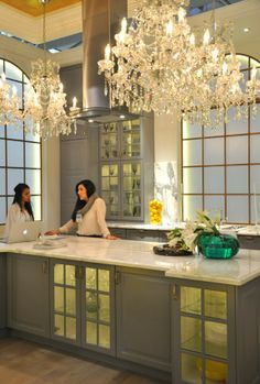 Interesting use of four full-sized chandeliers in the Ikea kitchen from the Toronto Interior Design Show.