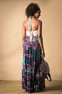 Vestido Longo com Crochet Estampado - Novidades