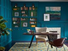 When it comes to predicting the most popular paint colors of industry experts are seeing red—and blue, and black, and gold. Strong, saturated shades are p Office Paint Colors, Interior Paint Colors, Paint Colours, Gold Interior, Modern Interior, Interior Design, Interior Ideas, Dark Walls, White Walls