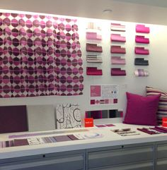 We're digging this fabulous Radiant Orchid inspired installation shared by our Boston sales rep, Mai Nguyen. She installed samples of our fabrics, which best reflect the Pantone Color of the Year, at the Gensler Boston showroom. #radiantorchid #colortrends2014