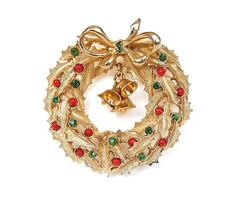 Vintage Christmas Wreath Brooch with Bells
