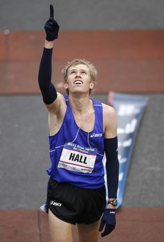 Ryan Hall. He always give's praises/thanks to the Lord after he finishes a marathon, whether he wins or not. But, here he qualifies for the Olympics :D
