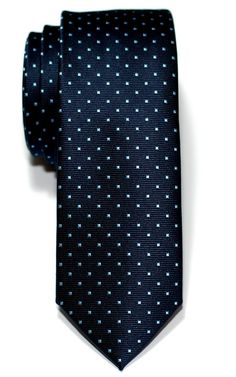 Retreez Pin Dots Woven Microfiber Skinny Tie - Navy Blue with Light Blue Pin Dots