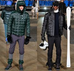 Moncler Grenoble 2016-2017 Fall Autumn Winter Mens Runway Collection Catwalk Looks - New York Fashion Week NYFW - Alpine Arctic Snow Outerwear Coat Furry Plush Quilted Waffle Puffer Down Jacket Parka Check Plaid Tartan Knee Panel Boot Covers Gloves Headwear Chunky Knit Sweater Jumper Ribbed Hat Cap Nylon Turtleneck Helmet Ski Leggings Goggles Sunglasses Catwalk Fashion, Ski Fashion, Fashion 2018, Spring Fashion, Fashion Show, Jeans Fashion, Autumn Summer, Fall Winter, Catwalk Collection