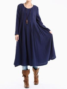 O-Newe Plus Size Solid O-Neck Long Sleeve Midi Dress For Women