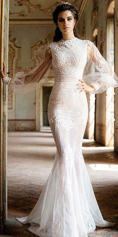 18 Most Wanted White Elegant Gowns ❤ vintage lace white elegant gowns with  illusion sleeves jaton 210640ff1ddd