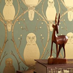 I love this creepy owl wallpaper! // Briar Owl wallpaper -Briar Owl is inspired by the story of Sleeping Beauty with guardian Snowy Owls nestled amongst the tangled briars protecting the sleeping princess. Gold Wallpaper Designs, Owl Wallpaper, Metallic Wallpaper, Wallpaper Online, Designer Wallpaper, Pattern Wallpaper, Hallway Wallpaper, Gothic Wallpaper, Framed Wallpaper