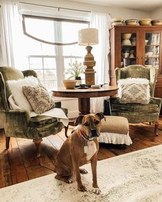 Front window, entry idea for chairs, corner hutch, for rug, - National Love Your Pet Day - House on Winchester Living Room Hutch, Living Room Decor Country, Home Living Room, Dining Room, French Country House, French Country Decorating, Country Style, Bohemian Chic Home, Love Your Pet Day