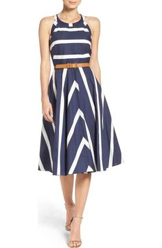 Free shipping and returns on Lauren Ralph Lauren Mock Neck Dress at Nordstrom.com. Blue crepe is the perfect match for this fit-and-flare frock that's great at the office and for after-work events. Princess seams sculpt a flattering silhouette from the mock neckline to the midi-length skirt.