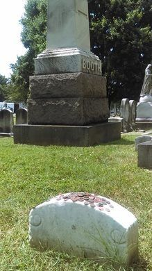 Discover Grave of John Wilkes Booth in Baltimore, Maryland: A blank headstone topped with a pile of pennies marks the final resting place of the infamous assassin. Famous Graves, Culture War, Travel Nursing, Cemetery Art, Civil War Photos, Baltimore Maryland, Famous Stars, Effigy, Vintage Photographs