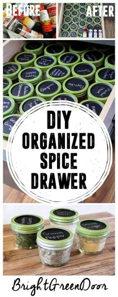 Simple Spice Organization, Organized Spice Drawer, Organizing with Mason Jars. www.BrightGreenDoor.com