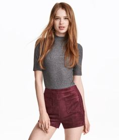 Burgundy faux suede shorts- H&M