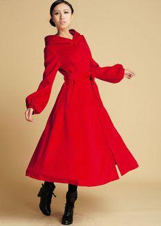 red wool coat with tie belt waist long winter coat by xiaolizi Red Winter Coat, Red Wool Coat, Hooded Winter Coat, Long Winter Coats, Long Wool Coat, Winter Coats Women, Coats For Women, Maxi Coat, Belted Coat