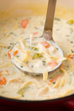 Creamy Chicken Noodle Soup - A hearty and comforting soup recipe you'll want to have on hand this fall!